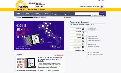 La schermata principale del CSBNO MLOL